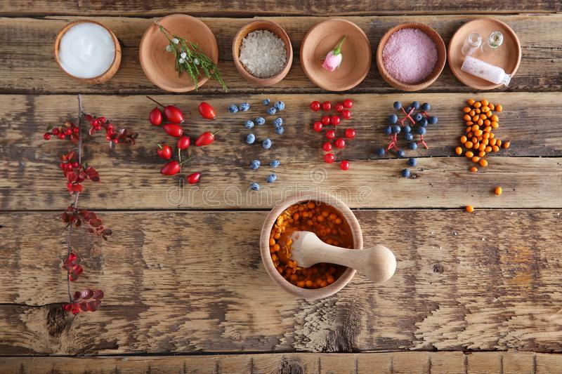 Natural ingredients for homemade cosmetics in bowls o royalty free stock photo