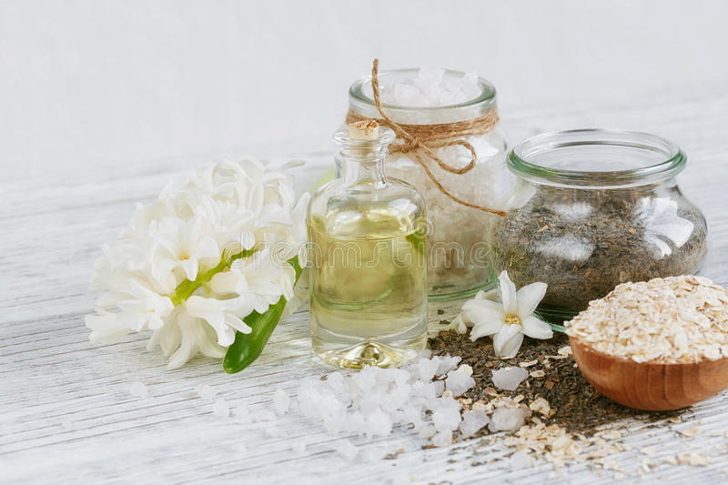 Natural ingredients for homemade facial and body mask. Or scrub royalty free stock photo
