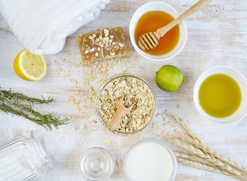 Natural Ingredients for Homemade Oat Body Face Milk Scrub royalty free stock photos