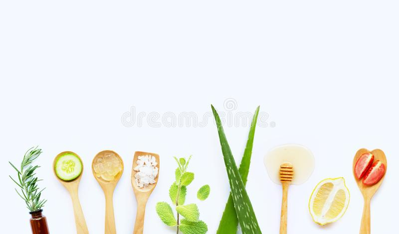 Natural ingredients for homemade skin care. On white background stock photos
