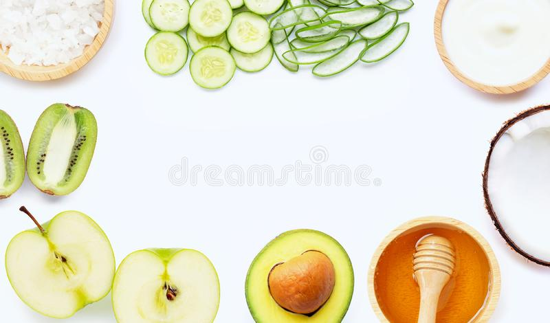 Natural ingredients for homemade skin care. On white stock image