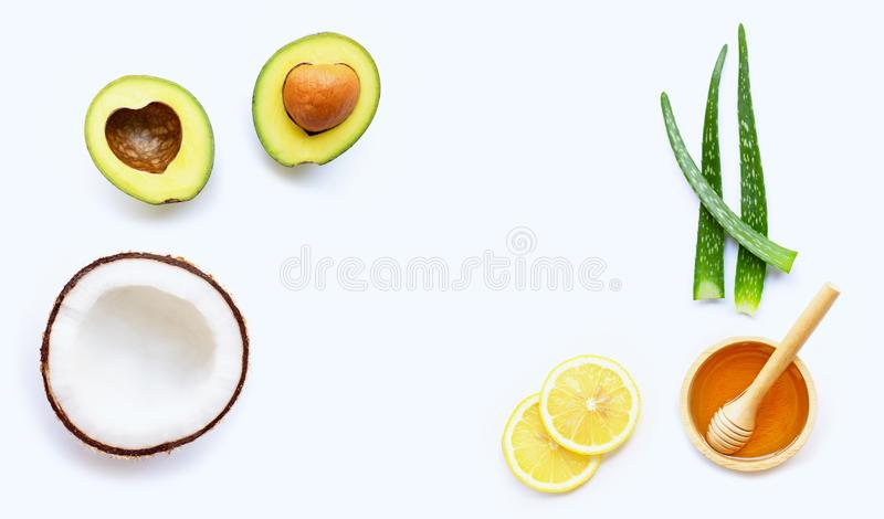 Natural ingredients for homemade skin care on white background. Copy space stock image