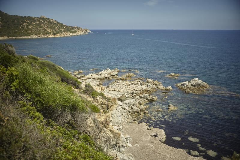 Top view of a natural bay in Sardinia royalty free stock photos