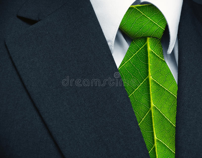 Eco future concept. Green-powered business suit royalty free stock photography