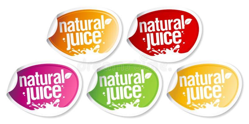 Natural juice stickers. stock illustration