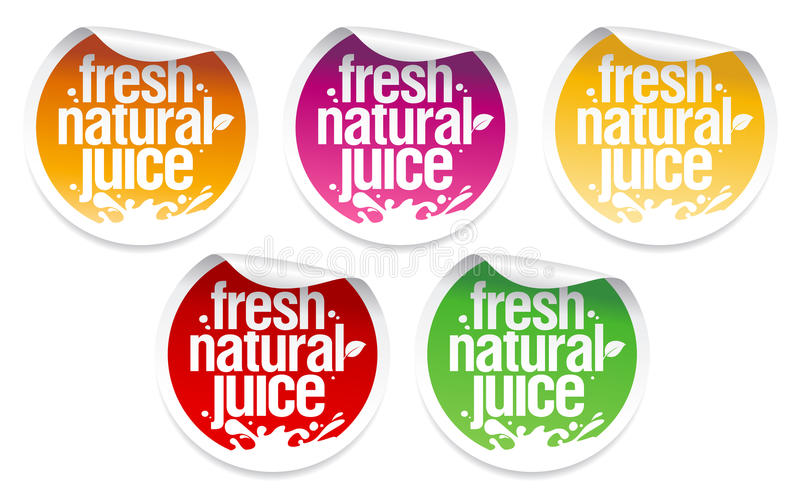 Natural juice stickers. vector illustration