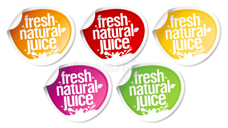 Natural juice stickers. royalty free illustration