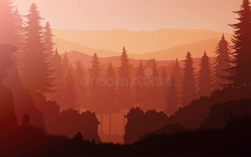 Natural junle pine forest mountains horizon Landscape wallpaper Sunrise and sunset Illustration vector vector illustration