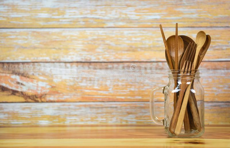 Natural kitchen tools wood products / Kitchen utensils background with spoon fork chopsticks object utensil wooden concept. Selective focus royalty free stock photography
