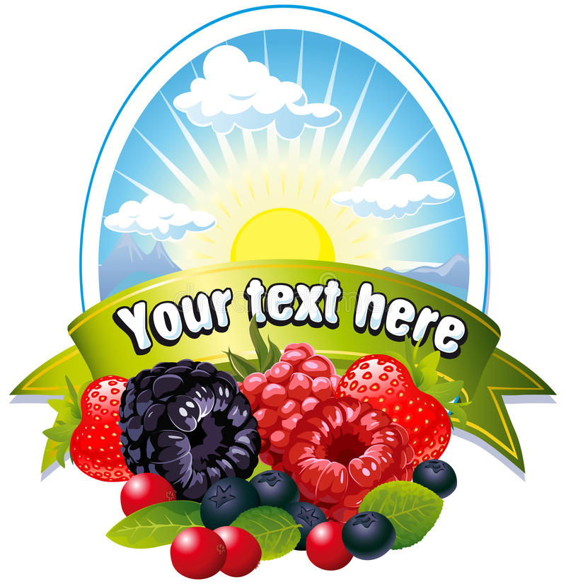 Download Natural label with berries stock vector. Image of cute - 21339568