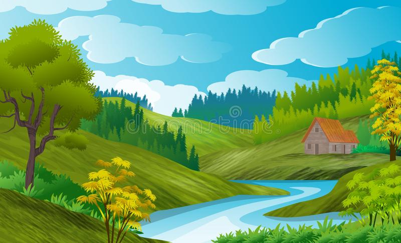 Natural landscape background with hills winding by a river, pine grove. Clouded sky. vector illustration