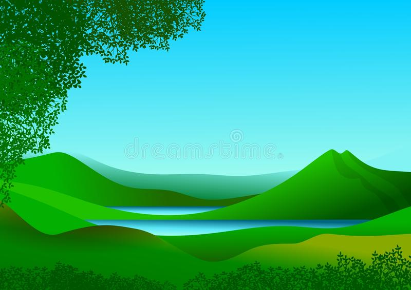 Natural landscape with mountains and lake of calm and refreshing waters. Natural landscape with blue sky with clouds, mountains, green hills and stylized stock illustration