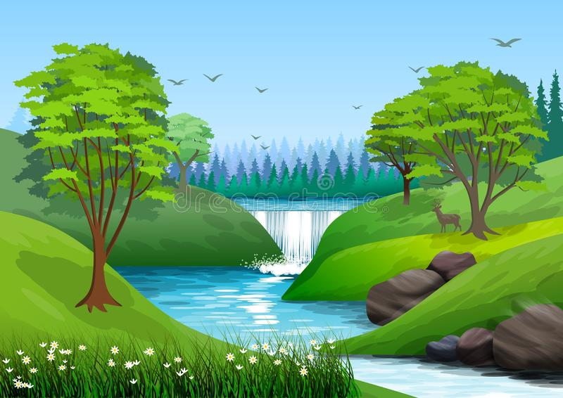 Natural landscape with blue sky, mountain, green hills, trees, pine forest in silhouette, river with waterfall and a little shade. vector illustration