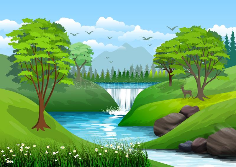 Natural landscape with blue sky, mountain, green hills, trees, pine forest in silhouette, river with waterfall and a little shade. stock photo