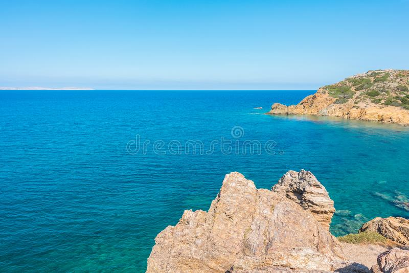 Natural landscape on the Crete Island Greece, Vai beach stock images