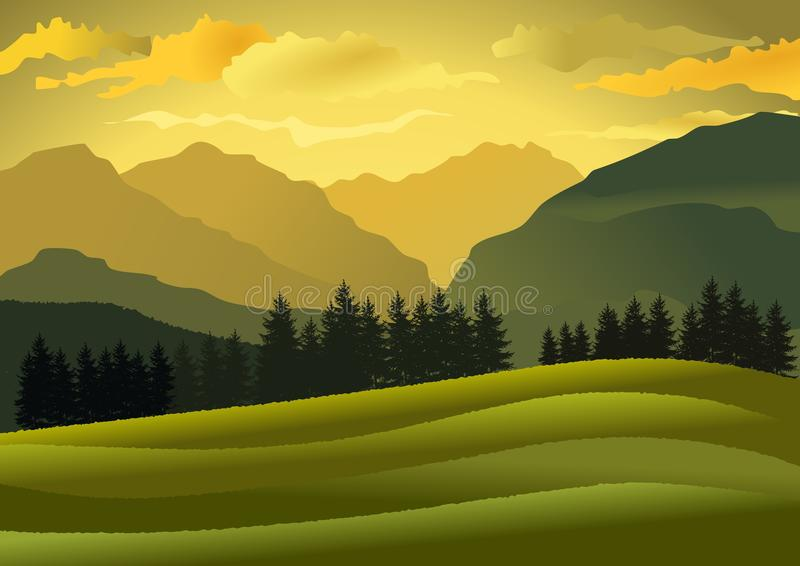 Natural landscape at dusk with mountains and hills. Vector illustration. vector illustration