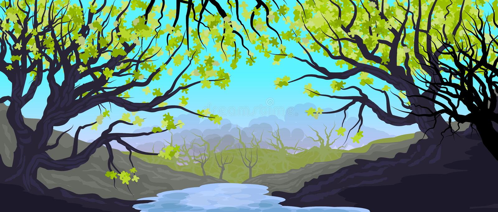 Natural landscape with grove and trees in the foreground. Dense forest. Illustration. Bottom. Wallpaper stock illustration
