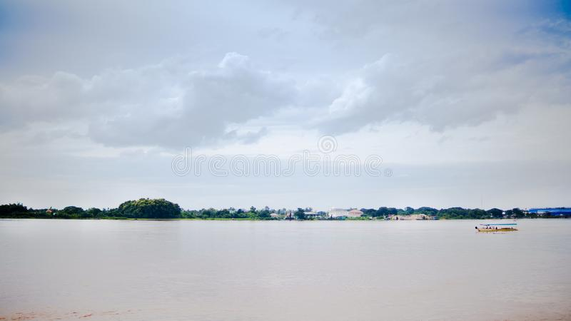 Natural landscape of Maekhong River at border line between Thailand and Lao,Asia. Shot image from Thailand side at Nongkhai province,Thailand stock image