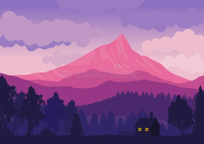 Natural landscape with mountains and forest with pine trees silhouettes. vector illustration