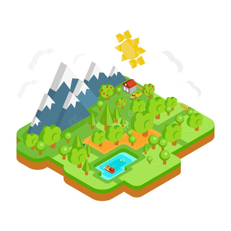 Natural Landscape with Mountains River and Forest. Vector Flat Isometric 3D Concept. Natural Landscape with Mountains River and Forest. Vector Flat Isometric 3D stock illustration