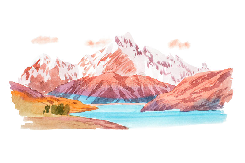 Natural landscape mountains and river watercolor illustration royalty free illustration