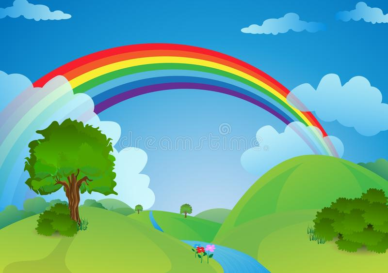 Natural landscape rainbow over the valley stock illustration