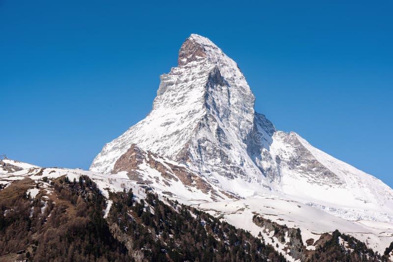Natural Landscape Scenery View of Matterhorn Mountain Peak in Zermatt, Zwitserland, Majestic Geologic Mountain Range of Alpine stock fotografie