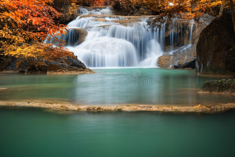 Natural Landscape Scenery of Waterfall in The Deep Forest, Beautiful Amazing Nature Fall in Jungle at Autumn Season. Wonderful royalty free stock photography