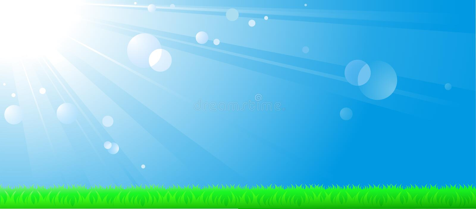 Natural landscape with sky, sun and lawn. Natural landscape with morning sky background, bright sun and green lawn vector illustration