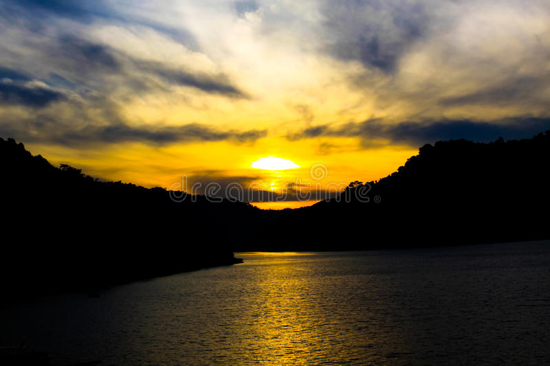 Natural landscape sunset mountain and lake royalty free stock photos