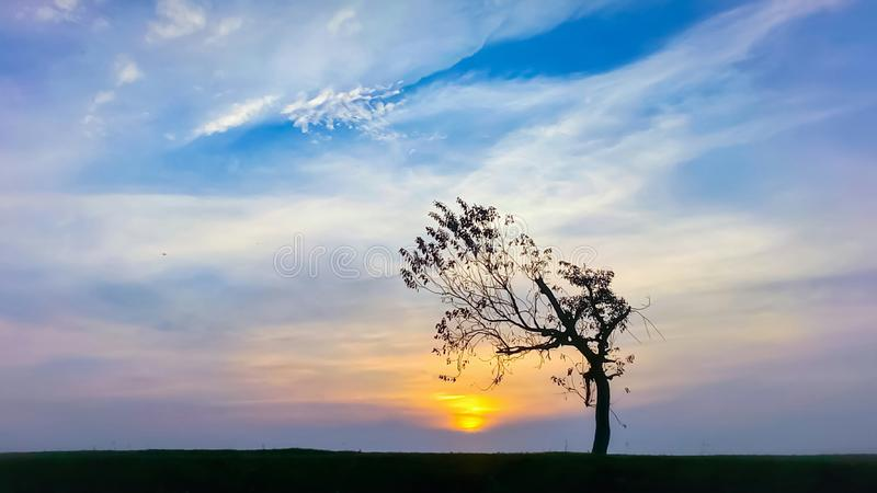 Natural landscape with sunset royalty free stock images