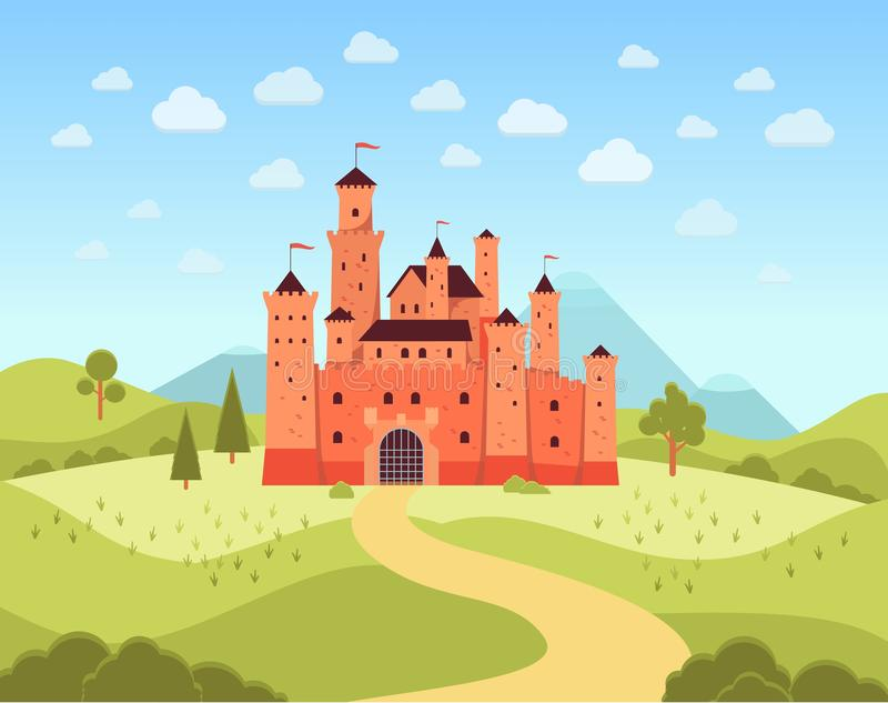 Natural landscape with terracotta medieval castle flat cartoon style vector illustration