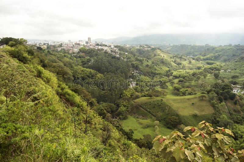 Natural Landscapes from Lookout of Armenia in Quindio ,Colombia. Natural Landscapes from Lookout of Armenia in Quindio,Colombian Coffee Region stock photography