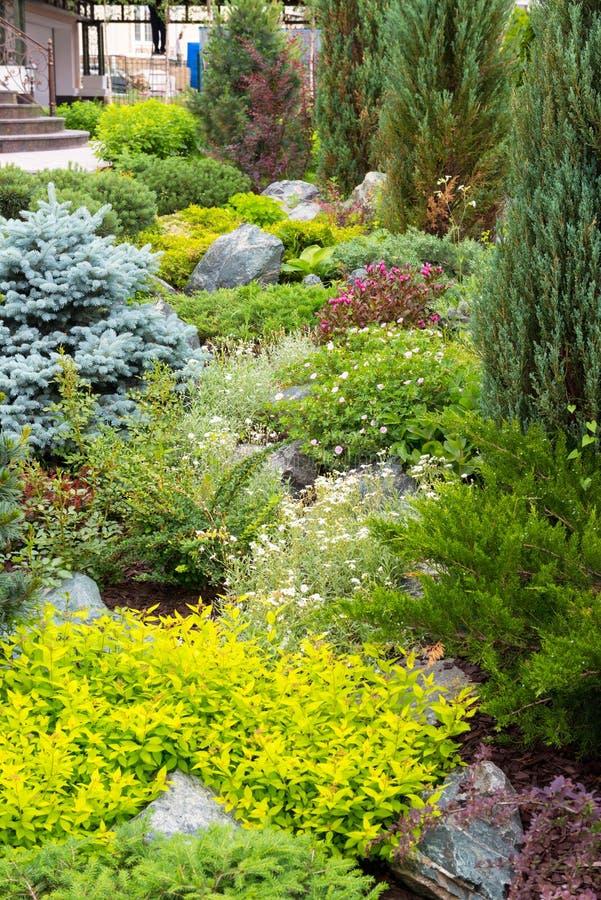 Natural landscaping in home garden stock photos