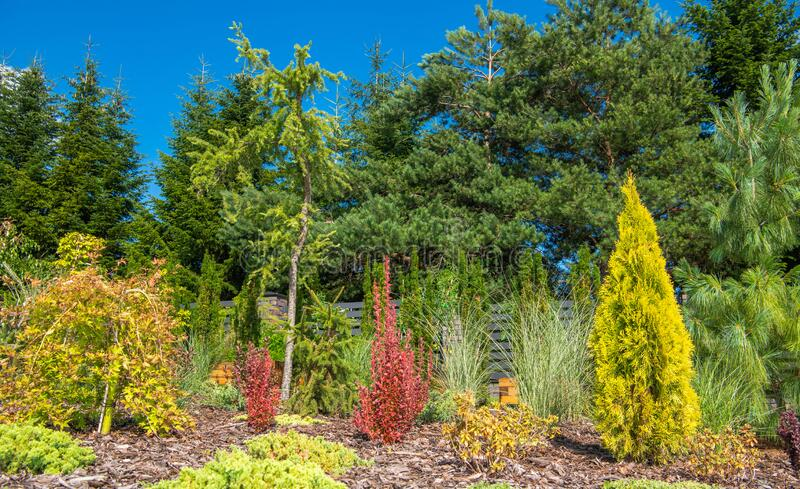 Natural Landscaping At Residential House royalty free stock photos