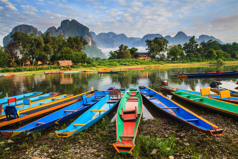 Natural in laos. The natural is still purity and beautiful in Vang Vieng, Laos royalty free stock photos