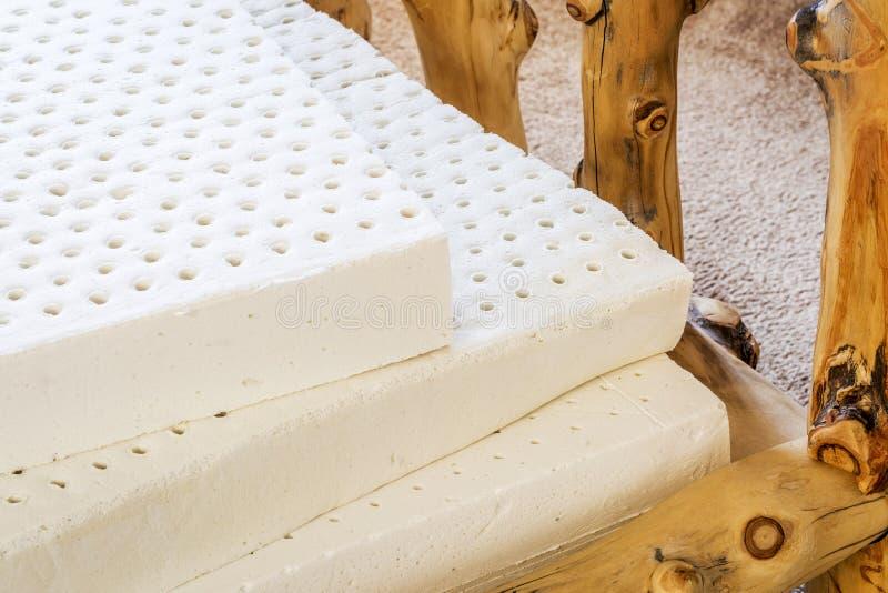 Natural latex mattress. Exposed layers of natural latex from an organic mattress royalty free stock photography