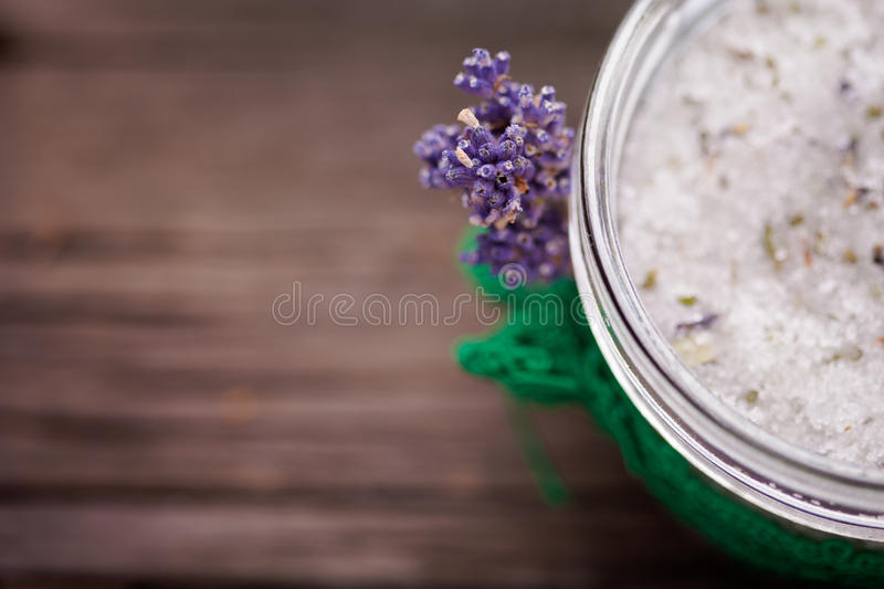 Natural lavender and coconut body scrub stock photography
