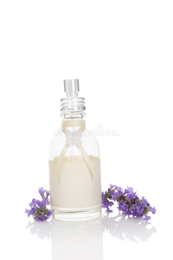 Natural lavender cosmetics. Lavender background. Fresh lavender blossom and lavender soap on white background. Natural lavender cosmetics royalty free stock photos