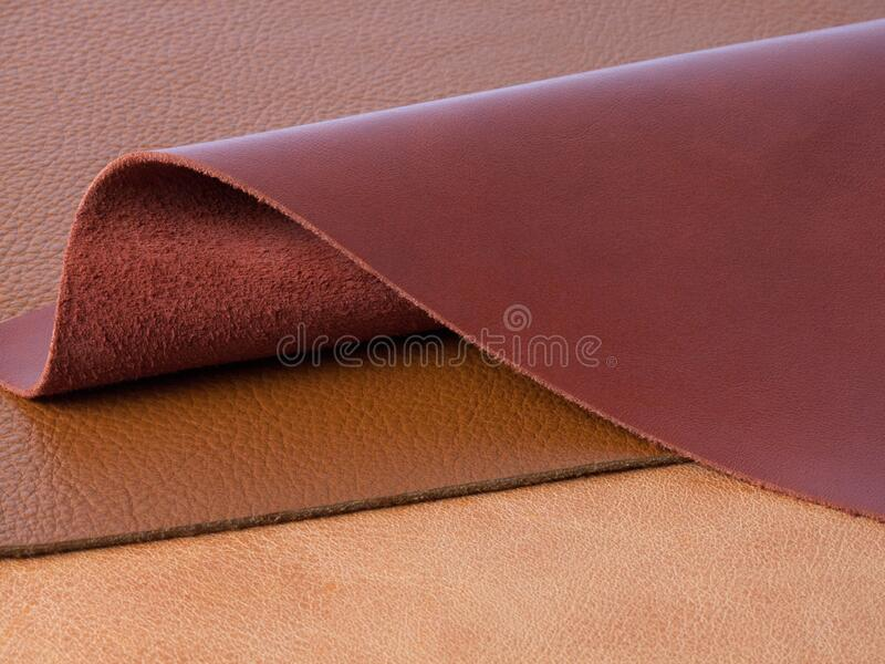 Natural leather textures samples. Different natural leather textures samples stock photography