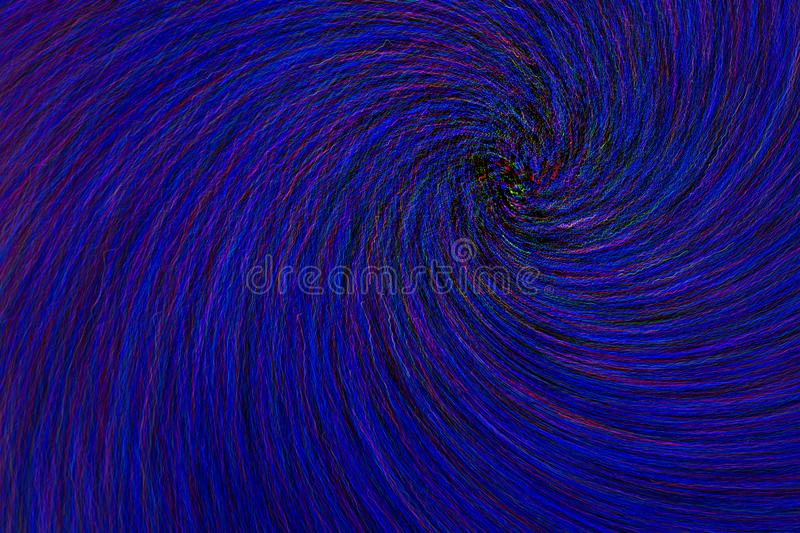 Natural lens spin-zoom swirl explosion radial blurred red green blue dots on black background.  stock illustration
