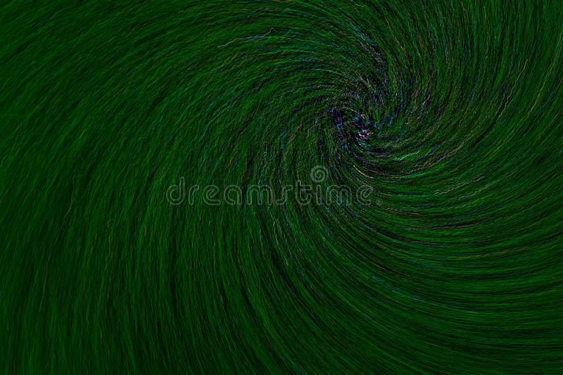Natural lens spin-zoom vortex explosion radial blurred green dots on black background royalty free stock photography