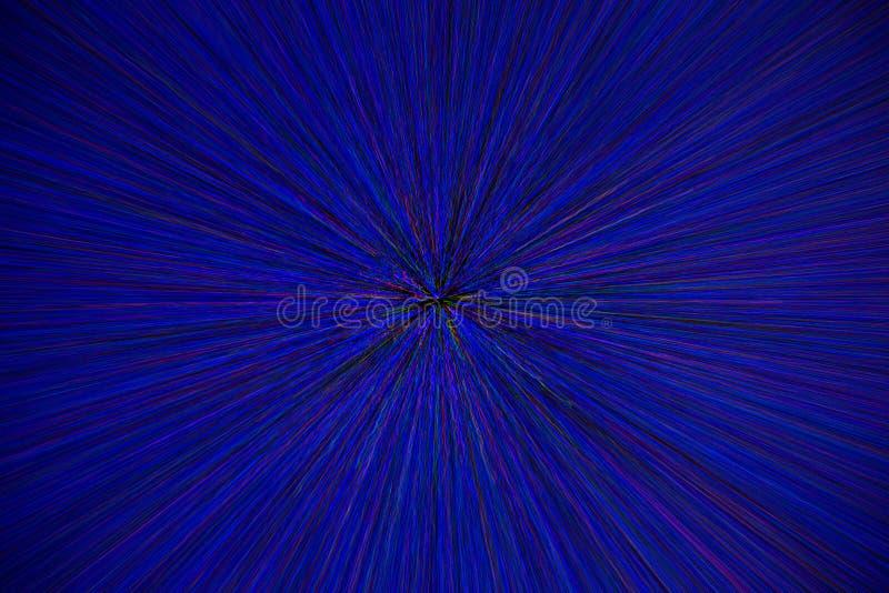 Natural lens zoom explosion radial blurred red green blue dots on black background.  vector illustration