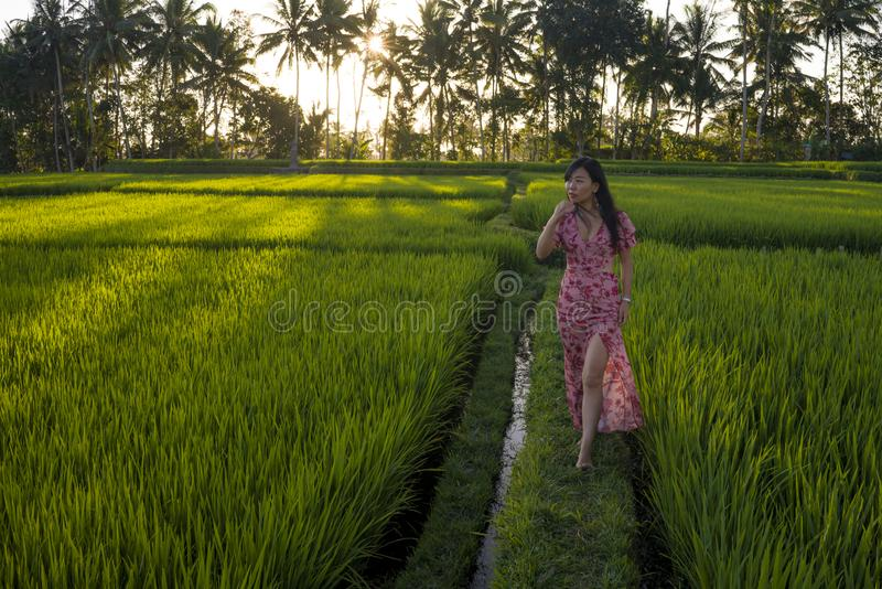 Natural lifestyle portrait of young beautiful and happy Asian Chinese woman in elegant Summer dress walking carefree and relaxed. At fresh tropical rice field stock photo