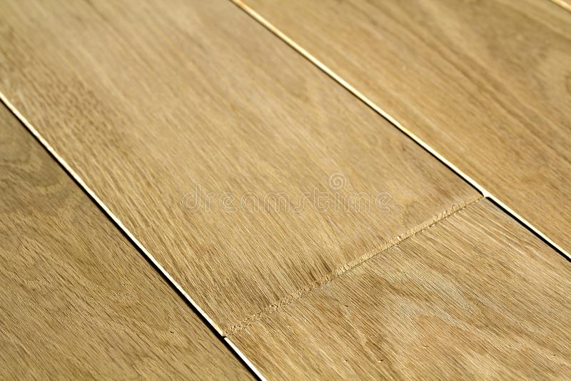 Natural light brown wooden parquet floor boards. Sunny soft yellow texture, copy space perspective background stock photography