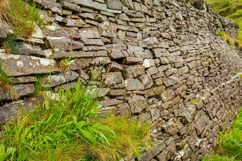 Natural limestone wall in ruins with plants between the stones in the burren. Geosites and geopark, spring day in the countryside in county Clare in Ireland royalty free stock photography