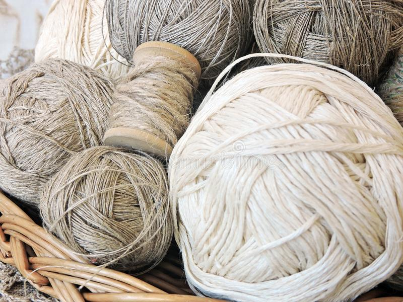 Natural linen thread balls, Lithuania royalty free stock photography