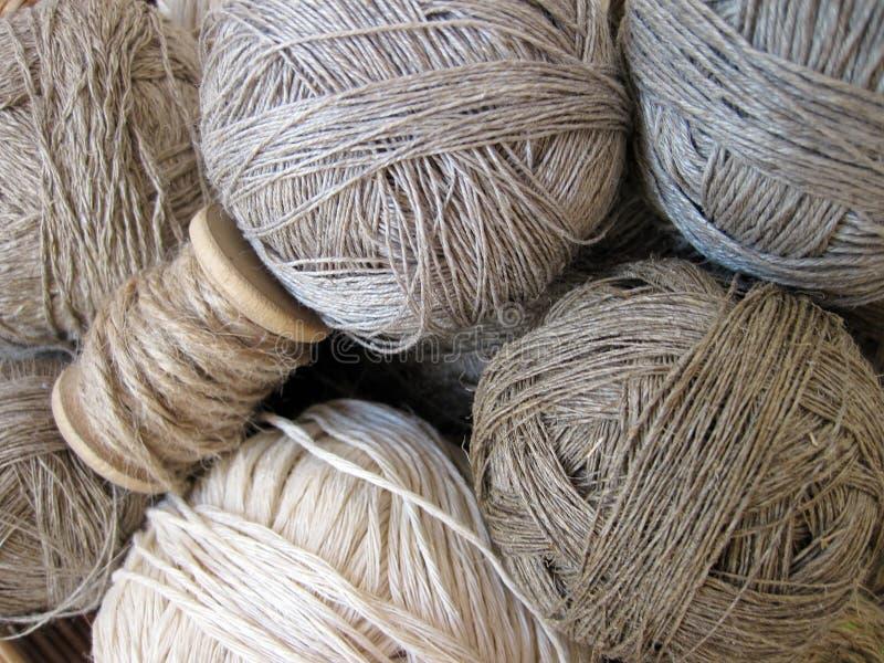 Natural linen thread balls, Lithuania royalty free stock photo