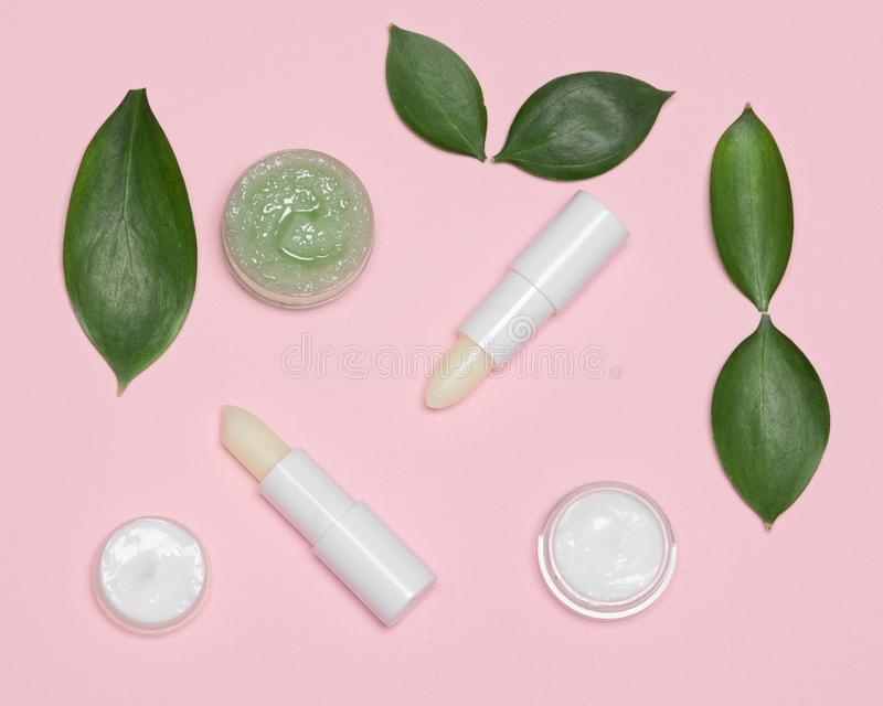 Natural lip skin care products with green leaves. Natural lip skin care products. Lip balms, creams, gentle honey scrub with green leaves royalty free stock photo