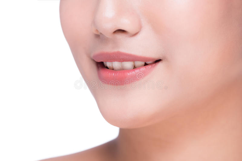 Natural lips. Close up shoot in studio on white royalty free stock image